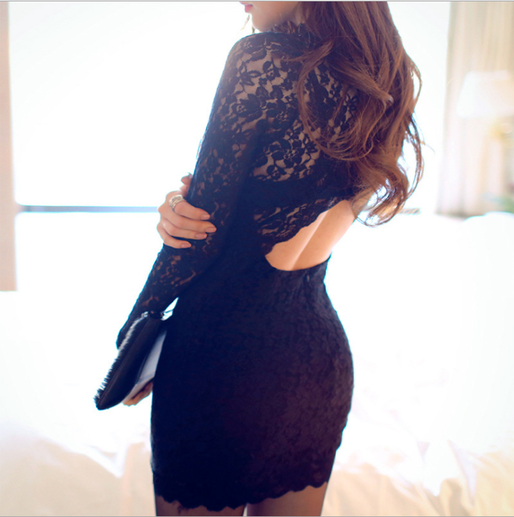 Sexy Lace Dress With Long Sleeves
