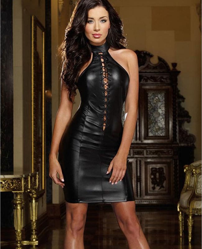 Sexy Leather Dress Black