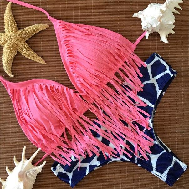 Tassels Brazilian Bikini Pink