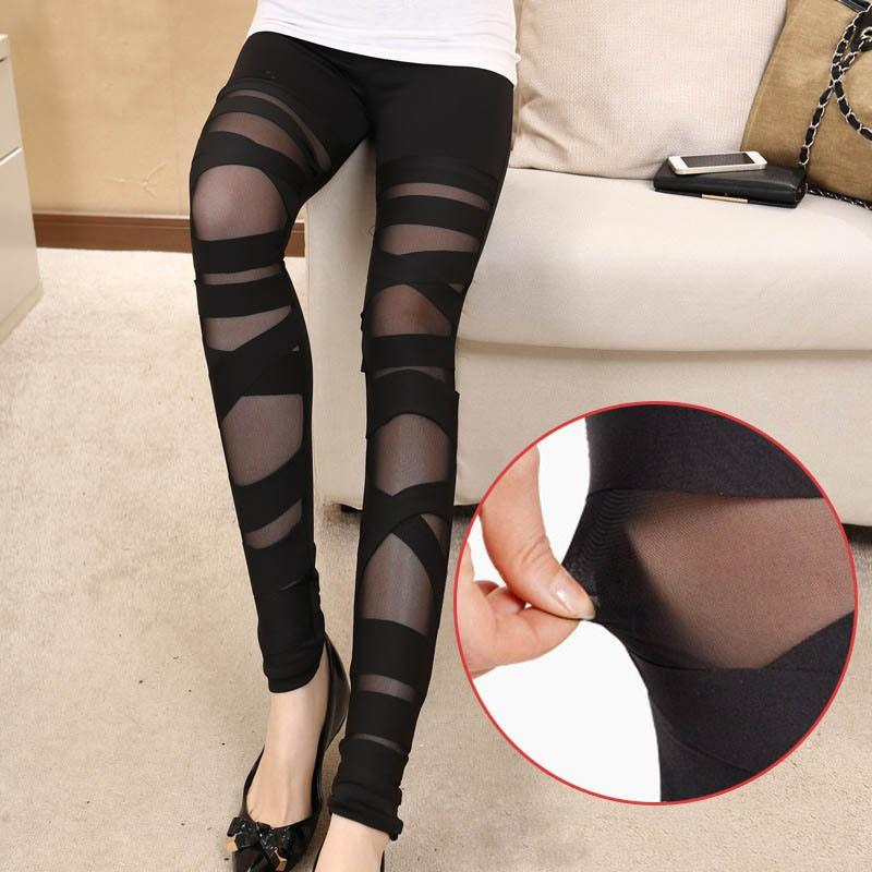 Black Mesh Leggings with Cross Detail