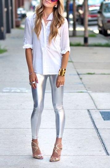 Gloss Leggings Silver