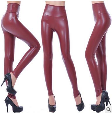 Faux Leather Leggings Burgundy