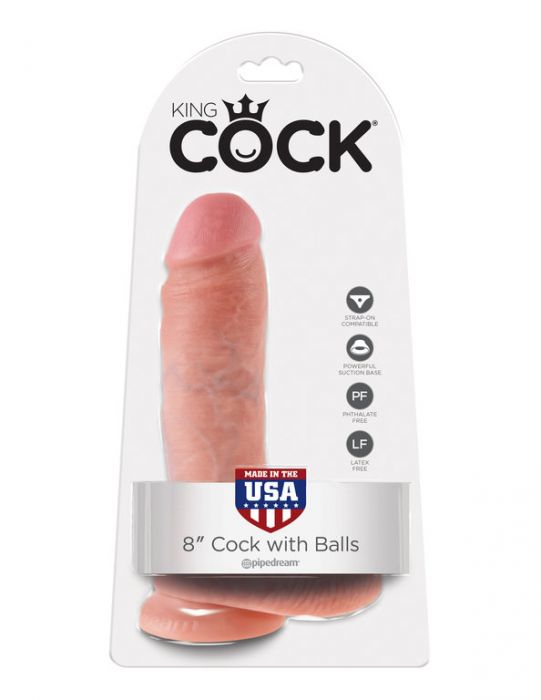 "King Cock 8"" with Balls Flesh"