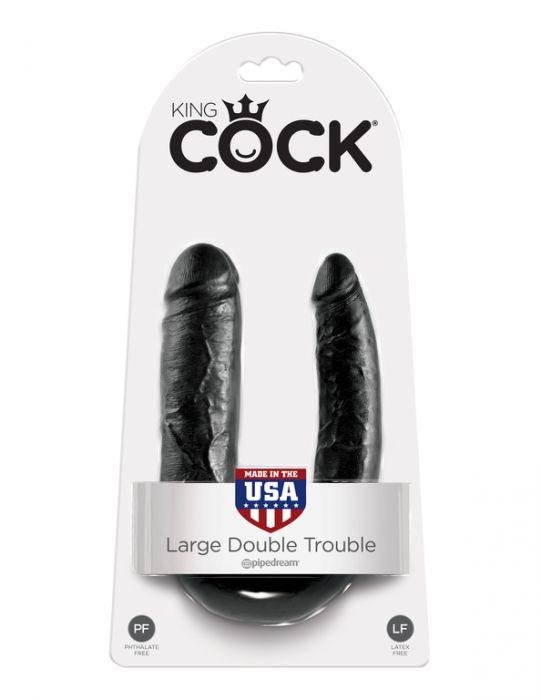 King Cock U-Shaped Large Double Trouble Black