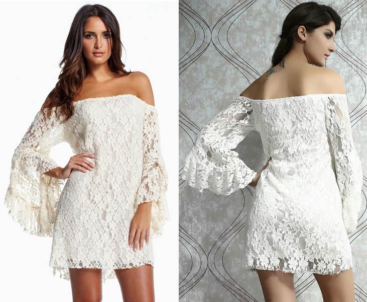 Long Sleeve Lace White Dress