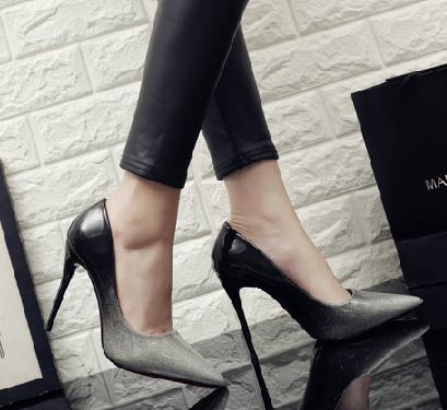 High Heel Shoes Black/Silver