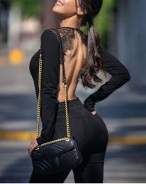 Sexy Long Sleeves Lace Teddy Black