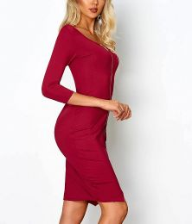 Midi Zipper Dress Burgundy