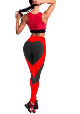 Heart Black/Red Leggings