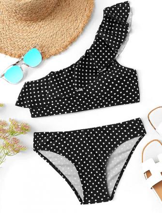 Polka Dots One Shoulder Bikini Black