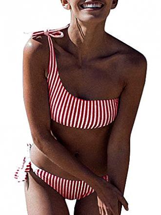 One-Shoulder Bikini Red