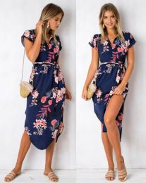 Floral Printed Casual Midi Dress Blue