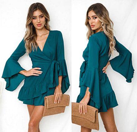 Long Sleeves Dress Green