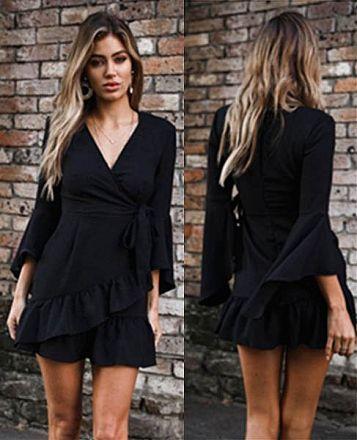 Long Sleeves Dress Black