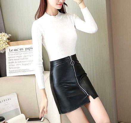 Faux Leather Zipper Skirt Black