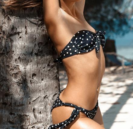 Polka Dots Bikini Brazilian Black