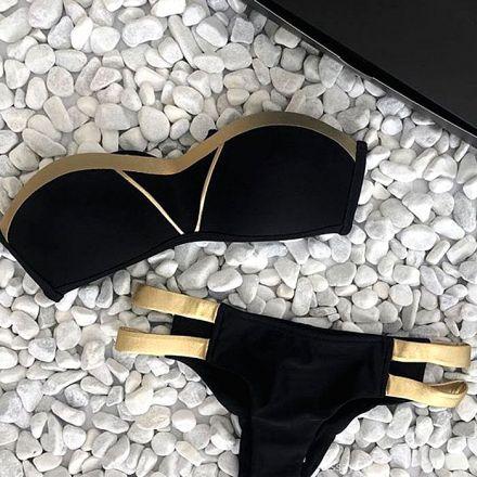 Sexy Brazilian Bikini Black-Gold