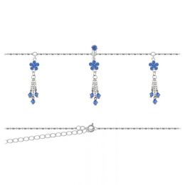 Belly Chain Flower Blue Crystals