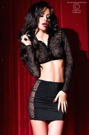 Chilirose Set Top Skirt and String Black