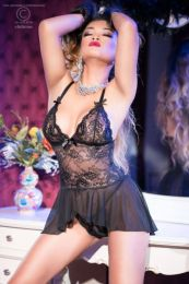 Chilirose Black Babydoll and String