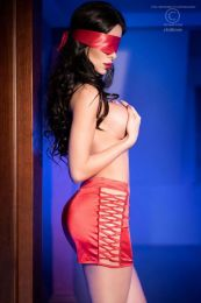 Chilirose Red skirt and satin mask
