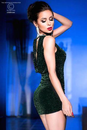 Chilirose Black Green Cocktail Dress