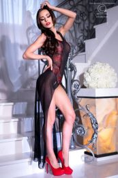 Chilirose Black-Red Long Gown and String