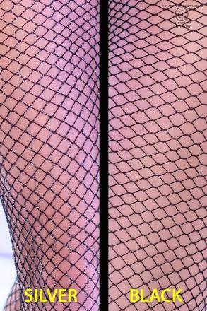 Chilirose 2-pairs Black & Black/Silver Stocking