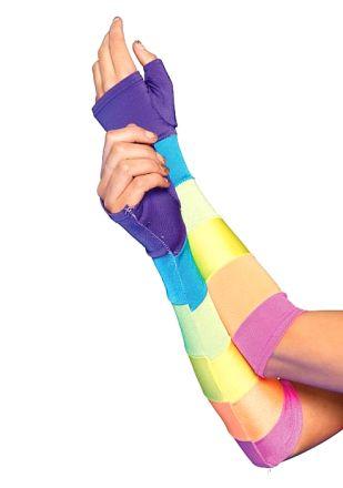 Leg Avenue -  Rainbow Fingerless Gloves