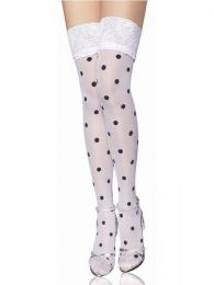 Rockabilly Dotted Stockings White