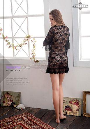 AnnaMu Plus Size Black Lace Negligee