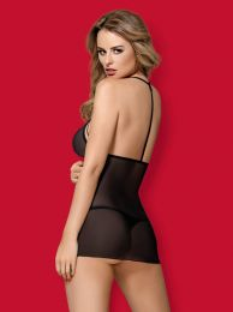 Obsessive 875-CHE-1 chemise & thong black