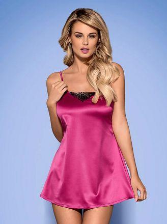 Obsessive Satinia babydoll & thong pink