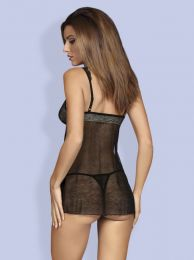 Obsessive 877-BAB-1 babydoll and thong black