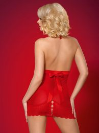 Obsessive 822-CHE-3 chemise and thong red