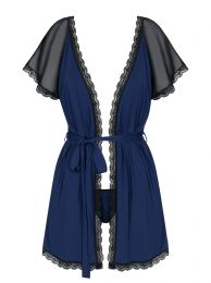 Obsessive 825-PEI-6 peignoir and thong navy blue