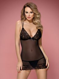 Obsessive 854-CHE-1 chemise and thong black