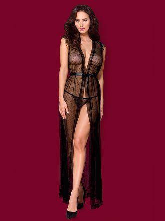 Obsessive 876-PEI-1 robe and thong black