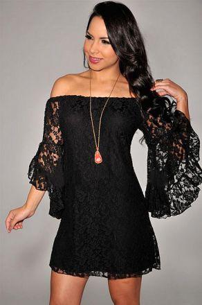 Long Sleeve Lace Black Dress