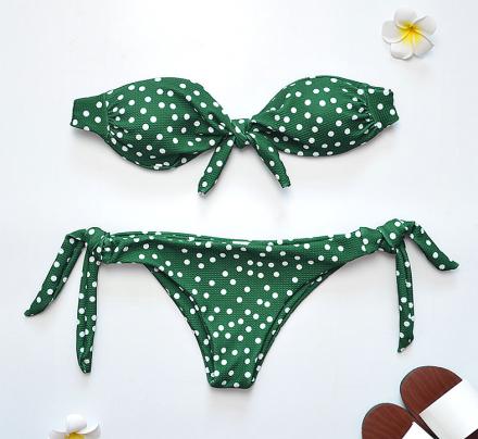 Polka Dots Bikini Brazilian Green