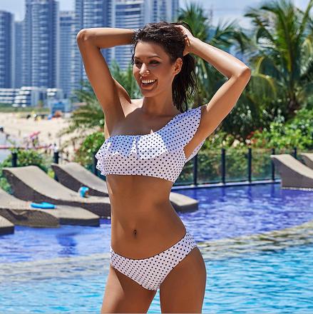Polka Dots One Shoulder Bikini White