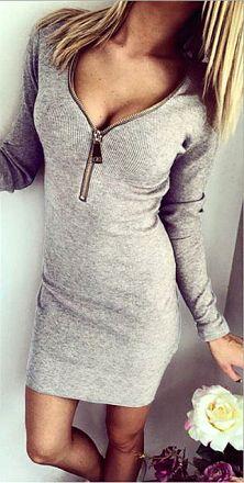 Mini Zipper Dress Gray