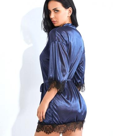 Satin Robe Navy blue