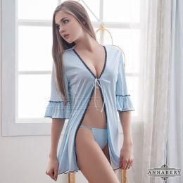 AnnaMu Plus Size Light Blue Negligee