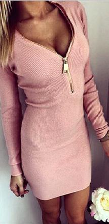 Mini Zipper Dress Pink